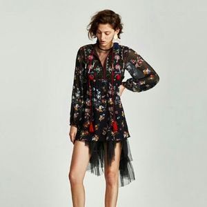 Embroidered Dress with Pom Poms and Tassel